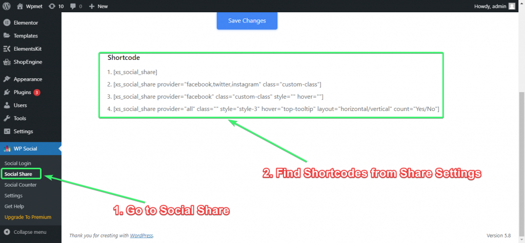 Find Social Share Shortcodes from Share Settings